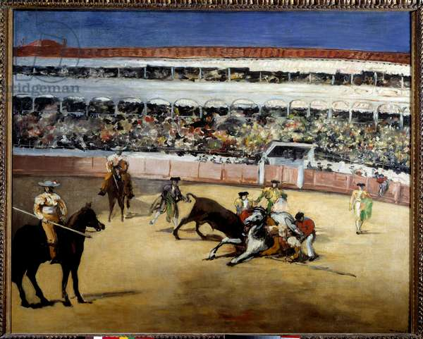 Bulls fight. Representation of a bullfight. Painting by Edouard Manet (1832-1883), 1865. Oil on canvas. Dim: 0,90 x 1,10m. Paris, Musee d'Orsay - Bull-fighting scene. Painting by Edouard Manet (1832-1883), 1865. Oil on canvas. 0.90 x 1.10 m. Orsay Museum, Paris