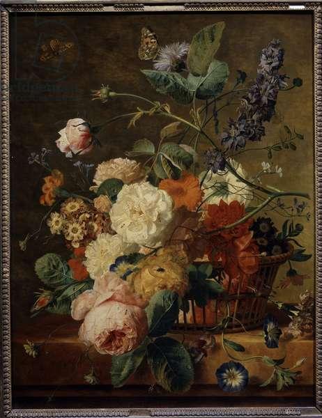 Flower basket with butterflies. Painting by Jan Van Huysum (1682-1749) Ec. Hol., 18th century. Oil on wood. Dim: 0.53 x 0.41m. Paris, Musee Du Louvre