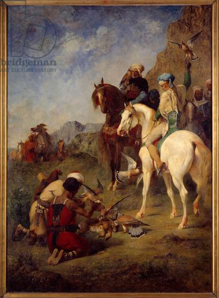 Falcon hunting in Algeria: the curee. Painting by Eugene Fromentin (1820-1876), 1863. Oil on canvas. Dim: 1,62 x 1,18m. Paris, Musee d'Orsay