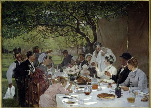 Wedding meal in Yport Painting by Albert Fourie (1854-1937) 1886 Sun. 3,89x2,53 m Rouen, musee des Beaux Arts