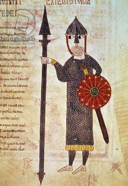 """A Visigoth infantryman. He wears a mesh size, a swords, a spear and a shield and his face is protected by a helmet that opens his nose. Miniature shoot from """""""" Apocalypse of Silos"""""""" written by Beatus of Liebana, Dominicus and Nunnio. Enlumine by Petrus, 1109 (Spain). London, British Museum."""
