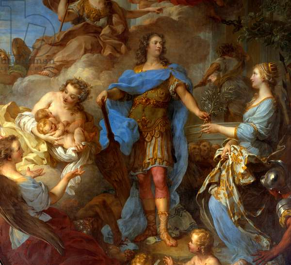 "Detail of """" King Louis XV (1710-1774) giving peace to Europe"""" Allegory at the time of the Treaty of Seville, the goddess Minerva is represented. Painting by Francois le Moyne (1688-1737) 1729 Sun. 3,82x2,95 m Versailles, musee du chateau - Detail of King Louis XV (1710-1774) bringing peace to Europe - Allegory at the time of the Treaty of Seville, the goddess Minerva is represented. Painting by Francois le Moyne (1688-1737), 1729. 3.82 x 2.95 m. Castle Museum, Versaillles, France"