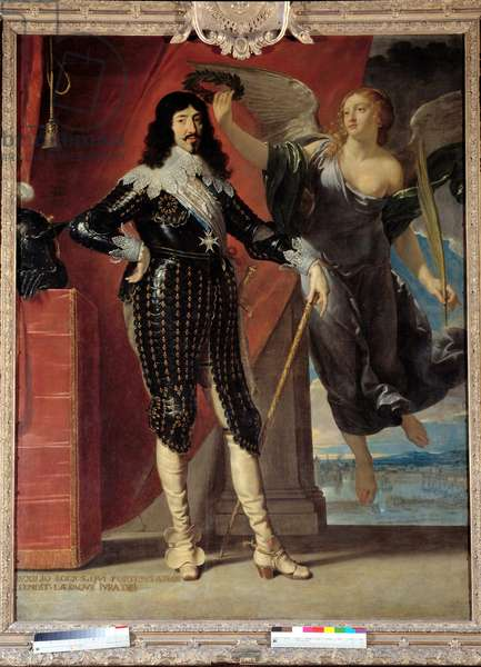 Portrait in foot of Louis XIII (1601-1643) crowns by Victory. Painting by Philippe de Champaigne (1602-1674), 17th century. Dim. 2,28x1,75 m.