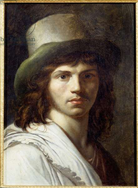 Self Portrait Painting by Anne Louis Girodet de Roucy-Trioson (Anne-Louis Girodet de Roucy Trioson, 1767-1824) 1795 Sun. 0,49x0,37 m Versailles, musee du chateau