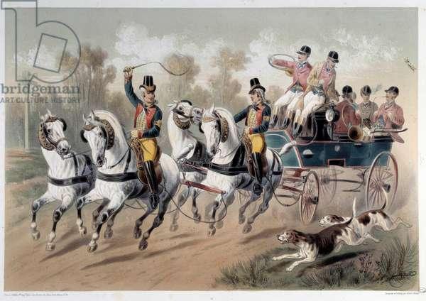 Hunting break, the start of the hunters Print by Albert Adam (1833-?) 19th century Paris, Musee Carnavalet