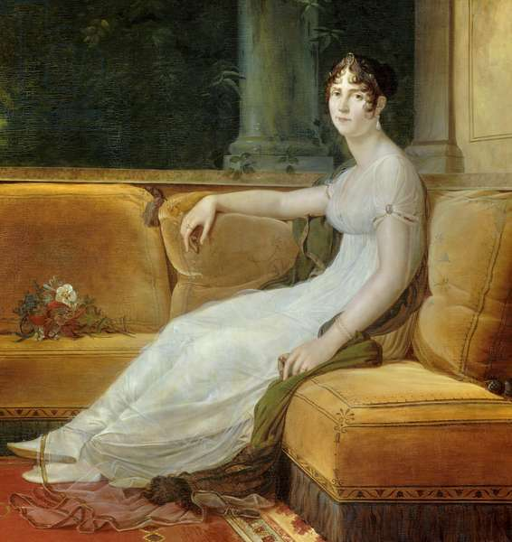 "Detail of """" Portrait de l'imperatrice Josephine de Beauharnais (1763-1814) dans son salon à la Malmaison"""" Painting by Francois Gerard (1770-1837) 1801 Sun. 1,71x1,64 m Malmaison, musee du chateau - Full-length portrait of Empress Josephine de Beauharnais (1763-1814) in the Malmaison's salon. Painting by Francois Pascal Simon Gerard (1770-1837), 1801. 1.71 x 1.64 m. Castle Museum of Malmaison, Rueil-Malmaison, France"