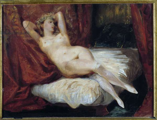Study of naked woman lying on a couch said the woman with white stockings Painting by Eugene Delacroix (1798-1863), 19th century. Sun 0,26x0,33 m