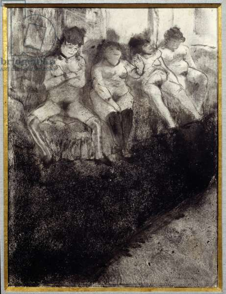 Waiting Second version. There are prostitutes waiting for customers in a brothel. Painting by Edgar Degas (1834-1917), monotype in black-brown ink on pale grey veline paper. 1879. Sun. 0,21x0,16 m Paris, musee Picasso