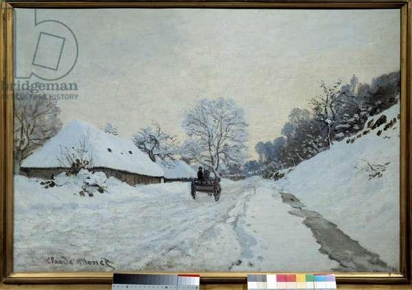 La charrette, route sous la neige à Honfleur in 1867 Painting by Claude Monet (1840-1926). 1867. Dim. 0,65x0,92 m. Paris, Musee d'Orsay