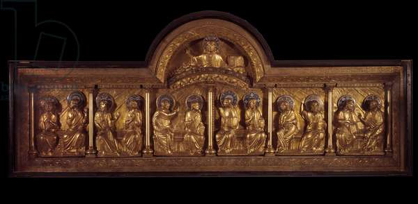 Romanesque art: altarpiece of Pentecote: antependium in wood, copper and enamel. From Stavelot (Meuse) Around 1160-1170. Paris, National Museum of the Middle Ages, Thermes de Cluny