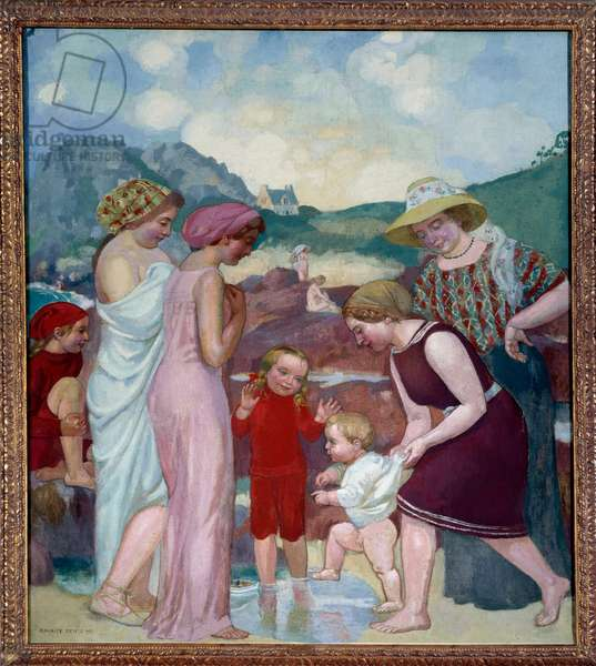 The first steps. A young boy takes his first steps in front of his mother and family, 1921 (painting)
