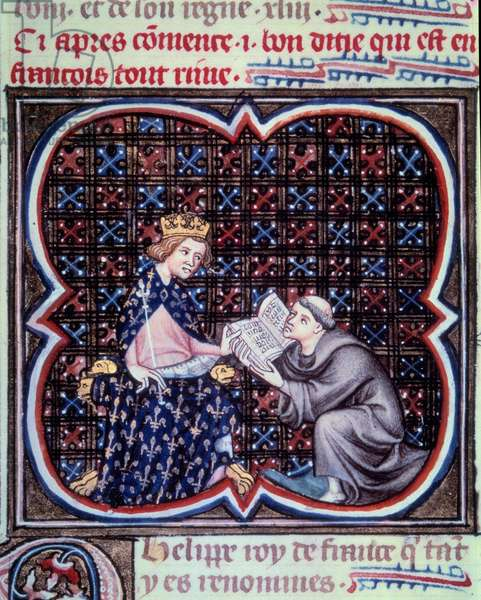 """Primate presenting the text of the great chronicles of France to Philip III (1245-1285). Miniature from the manuscript by Jean Fouquet (1420 - 1481) """""""" Grandes Chronicles de France"""""""". Paris. B N"""