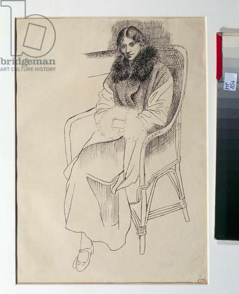 Olga in a chair. Drawing by Pablo Picasso (1881-1973), 1920. Black pen and ink. Dim: 0.26 x 0.19m. Paris, Musee Picasso.