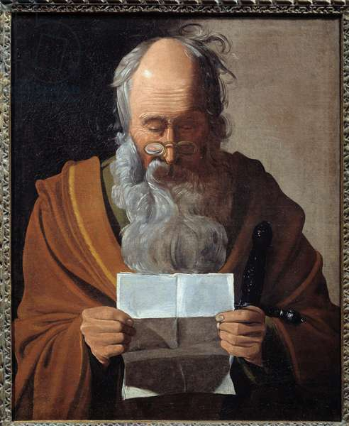 Saint Paul. Portrait of the apostle reading a letter. Painting by Georges De La Tour (1593-1652), 17th century. Oil on canvas. Dim: 0.63 x 0.51m. Albi, Musee Toulouse Lautrec