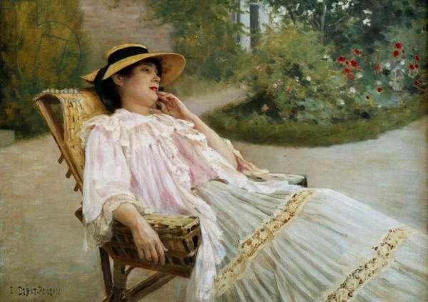 The nap Madame Edouard Debat Ponson on the terrace. Painting by Edouard Debat Ponsan (1847-1913), 1906. Tours, msuee of Fine Arts