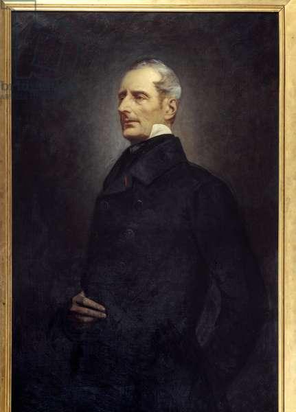 Portrait of Alphonse de Lamartine (1790 -1869) poet and politician. Painting by Gonzague Privat (1843 -?) , 19th century. Oil on canvas. Dim: 1.45 x 0.84m.