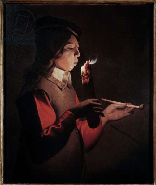 Le jeune fumeur Painting by Georges de La Tour (1593-1652), 17th century - Nancy, musee des Beaux Arts - The young smoker - Painting by George de La Tour (1593-1652), oil on canvas, 17th century - Museum of Fine Arts, Nancy, France