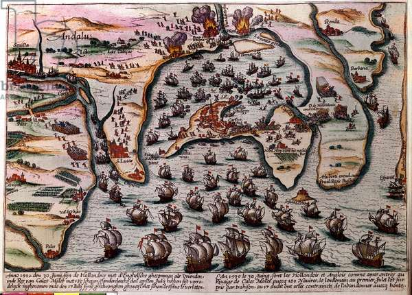 Battle Plan of Cales Males (Spain) on 30 June 1596. The fleet of the Dutch and English army enters as friends at Cales Males with 180 ships. The next day 1 July, surprised by treason, they had to abandon the city with shame. Engraving, 1596. Paris, NL