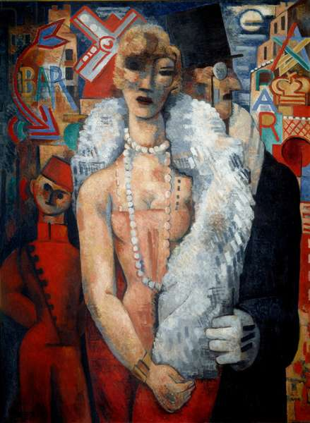 White Square. Portrait of a very elegant worldly couple with a man wearing a monocle and a woman with a fur boa and a long necklace of pearls. In the background a bellboy in red uniform. Painting by Marcel Gromaire (1892 - 1971), 1828. Oil on canvas. Dim: 0,96 x 1,30m. Paris, Musee Carnavalet.