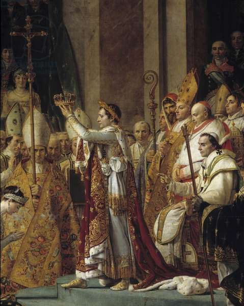 The Rite of Napoleon. Detail of Napoleon wearing the crown during the Sacre of Emperor Napoleon I Bonaparte and coronation of Imperatrice Josephine at Notre-Dame de Paris on December 2, 1804. Painting by Jacques Louis David (1748-1825), 1804-1806. Oil on canvas. Dim: 6,210x9,790m.  - The Coronation (or Consecration) of Napoleon. Detail of Napoleon holding the crown during his Consecration and Coronation of the Empress Josephine in Notre-Dame de Paris on 2 December 1804. Painting by Jacques Louis David (1748-1825), 1804-1806. Oil on canvas. 6,210 x 9,790 m. Louvre Museum, Paris