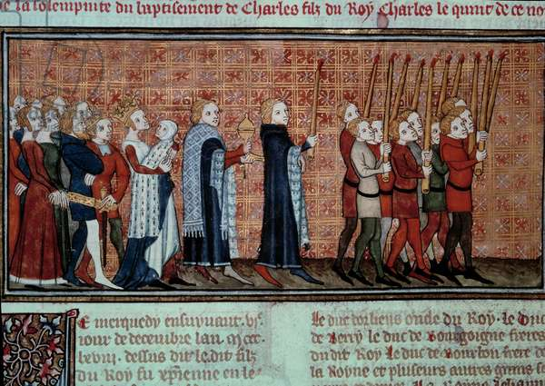 """Procession on the occasion of the baptism of Charles VI (1368-1422) carried by Queen Jeanne d'Evreux Miniature from """""""" Les grandes chronicles de France"""""""" by Jean Fouquet (1420-1481) Paris, B.N."""