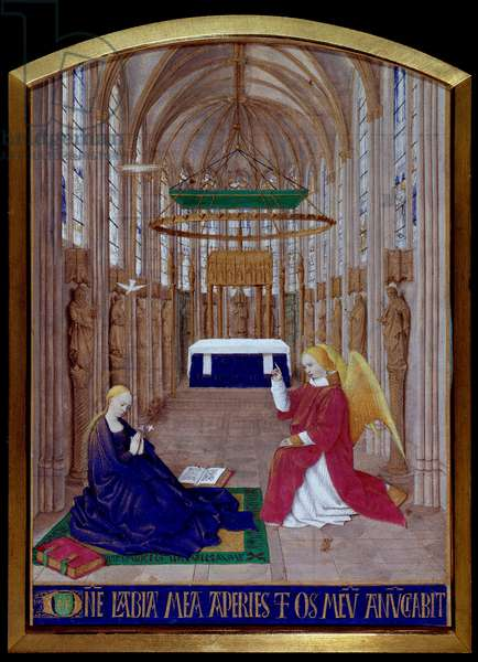 """The Miniature Annunciation taken from """""""" The Book of Hours of Etienne Chevalier"""""""" by Jean Fouquet (1420-1477/1481), 15th century. Chantilly, Conde Museum"""