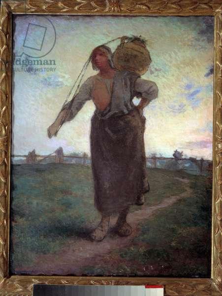 Laitiere Normande to Greville. Painting by Jean Francois Millet (1814-1875), 1874. Oil on canvas. Dim: 0.73 x 0.57m. Paris. Orsay Museum