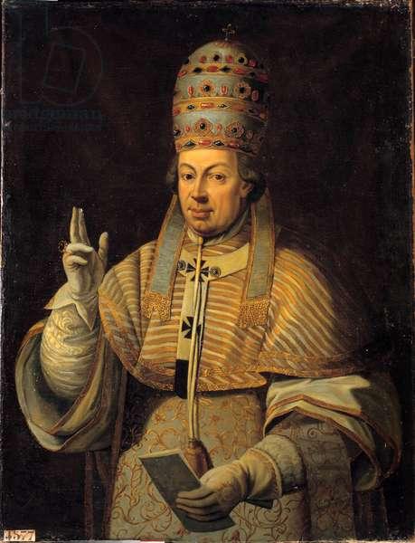 Portrait of Pope Pius (Pio or Pius) VI (1717-1799). Anonymous Italian painting, 18th century. oil on canvas. Dim: 1,16 x 0,88m.  - Portrait of Pope Pius VI (1717-1799) (born Count Giovanni Angelo Braschi). Anonymous Italian painting, 18th century. Oil on canvas. 1.16 x 0.88 m.