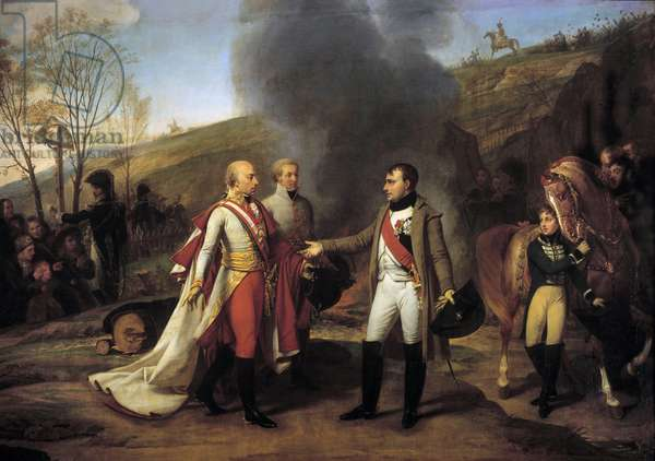 Interview of Napoleon I (1769-1821) and Francois II (1768-1835) in Sarutschitz in Moravia after the Battle of Austerlitz, 4/12/1805 Left behind Francois II, John I of Liechtenstein (1760-1836). Painting by Antoine Jean Gros (1771-1835). 19th century. Dim. 3,8x5,3 m.  - Interview between Napoleon I (1769-1821) and Francois II (1768-1835), after the battle of Austerlitz at Sarutschitz, in Moravia, 4 December 1805. On the left, behind Francois II, John I of Liechtenstein (1760-1836). Painting by Antoine-Jean Gros (1771-1835). 19th century. 3.8 x 5.3 m.
