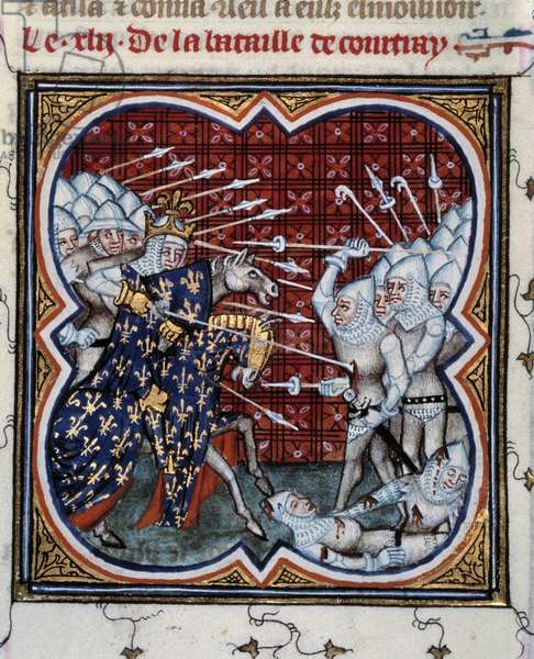 """Battle of Kortrijk between Philip IV the Bel (1268-1314) and the Flemish so-called Battle of Golden Spurs 11/07/1302 Miniature taken from """""""" Les grandes chronicles de France"""""""" by Jean Fouquet (1420-1481) 15th century. Paris, B.N."""