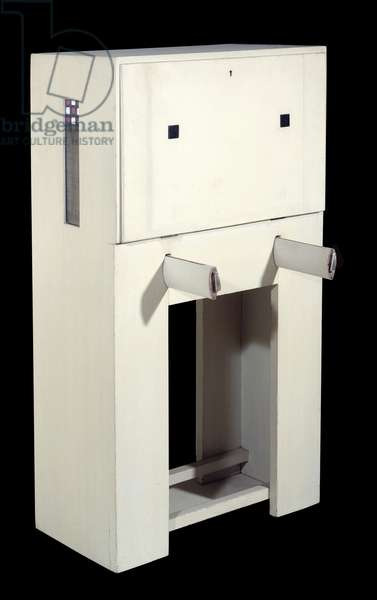 Charles Rennie Mackintosh (1868 - 1928); secretary a seat (1904) white lacquered wood. height: 1.21; Paris, Musee d'Orsay.