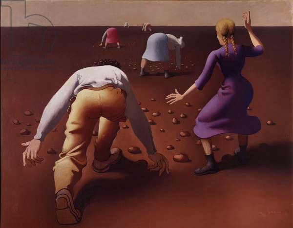 Potato pickers. Painting by Georges Rohner (1913-2000), 1956. Paris, Musee Municipal d'Art Moderne.