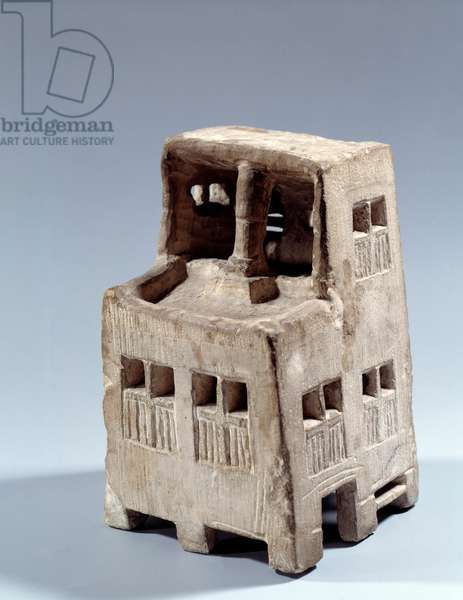 Egyptian antiquite: model reduced house in limestone. Ptolemaic period (332-30 BC). Paris, Louvre Museum