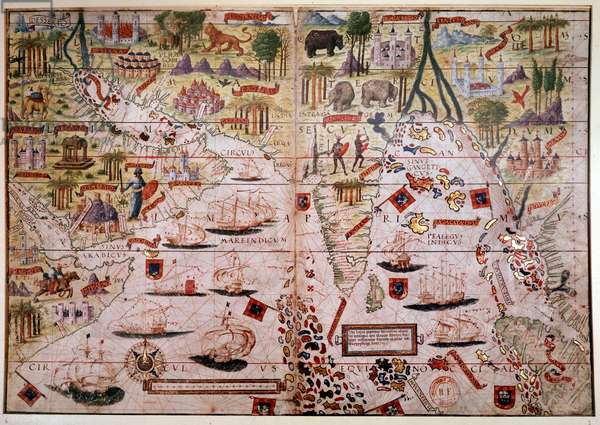 The Indes Portuguese nautical atlas. Page of the Atlas Miller manuscript made in 1519 by Pierre and Georges Reinel, Lopo Homem (cartographers) and Antoine de Hollande (miniaturist). 16th century. Paris, B N.