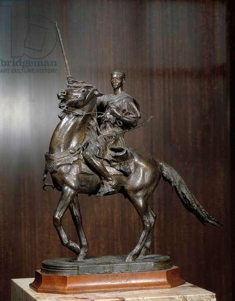 Before fantasia, souvenir of Tangier also known as Arabic Cavalier Bronze sculpture by Jean Dampt (1854-1945) 1885 Dim. 0,5x0,3 m Paris, Musee d'Orsay