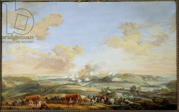 """War of the Succession of Austria (1741-1748): """""""" Siege of the castles of Namur by the Count of Clermont from 24 to 30 September 1746"""""""" Gouache by Louis Nicolas Van Blarenberghe (1716-1794) 1782 Sun. 0,59x0,94 m Versailles, museum of the castle"""