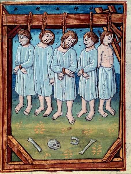 """Five men hanged. Miniature in """""""" chronicles de Saint Denis"""" Paris, Antoine Verard (15th century), 15th century. BN, Paris."""
