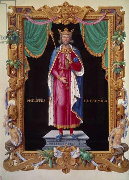 "Portrait in foot of the King of France Philip I (1052-1108). Miniature in """" Recueil des rois de france"""" by Jean du Tillet, 16th century. BN, Paris."