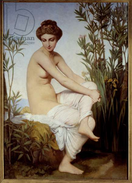 Antique Bather Painting by Eugene Amaury Duval (1808-1885) 19th century Rouen Museum of Fine Arts