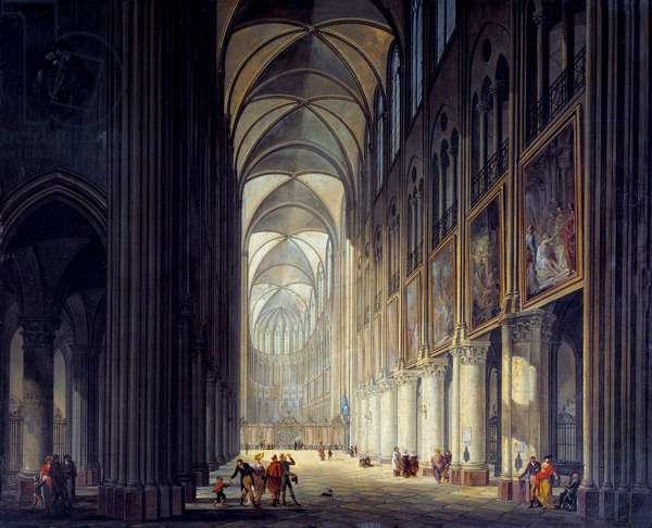 Interior view of the cathedrale Notre Dame de Paris Painting by J. F. Depelchin (1770-1835) 1789 Sun. 0,43x0,54m Paris, Musee Carnavalet - Interior view of the cathedral Notre Dame de Paris. Painting by J.F. Depelchin (1770-1835), 1789. 0.43 x 0.54m. Carnavalet Museum, Paris