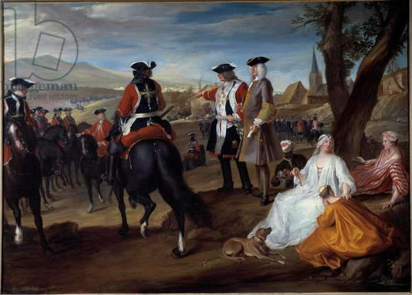 Review of black musketeers in the plain of the Sablons Painting by Robert Paul Ponce dit Robert de Seri (1686-1733) 1729 Sun. 1,06x1,47 m