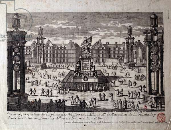 View of Place des Victoires in Paris with the statue of Louis XIV raised by the marechal de la Feuillade in 1686. Engraving of the 17th century Paris, Musee Carnavalet