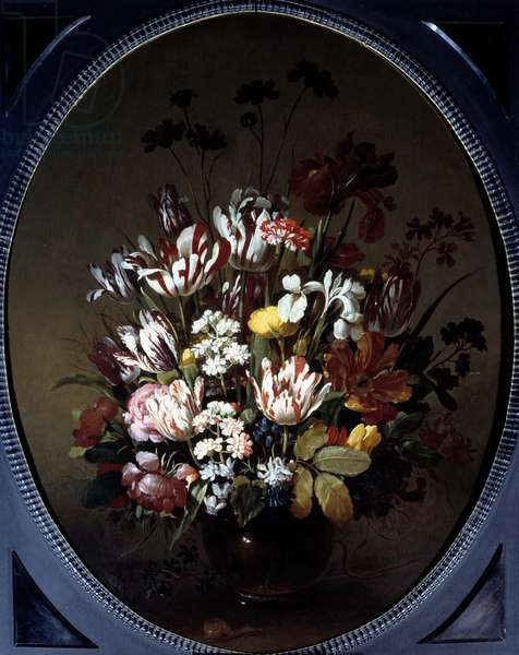 Vase of flowers. Painting by Hans Bollongier (v.1600-ap. 1644), Ec. Hol. Oil on canvas. Dim: 0.83 X 0.68m. Chalon-Sur-Saone, Musee Denon