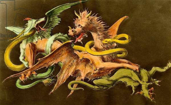 Chimeres A dragon fighting two monsters. Engraving from the 19th century.