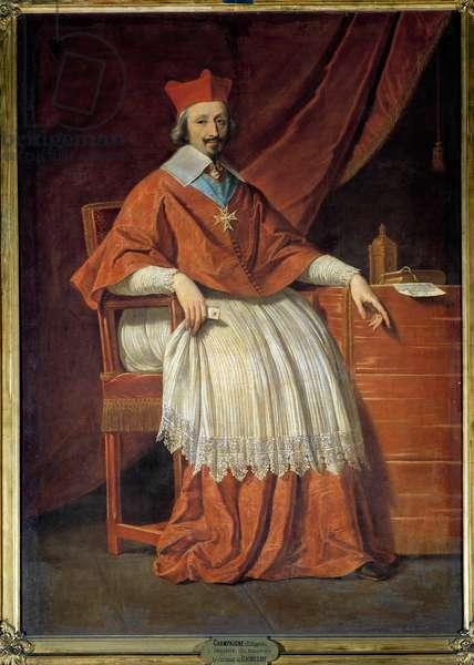 Portrait en pied du Cardinal de Richelieu (1585-1642) Painting by Philippe de Champaigne (1602-1674), 1636, Sun. 2,05 x 1,44 m - Chantilly, musee Conde - Portrait of the Cardinal Richelieu (1585-1642) - Painting by Philippe de Champaigne (1602-1674), oil on canvas (205x144 cm), 1636 - Musee Conee De, Chantilly