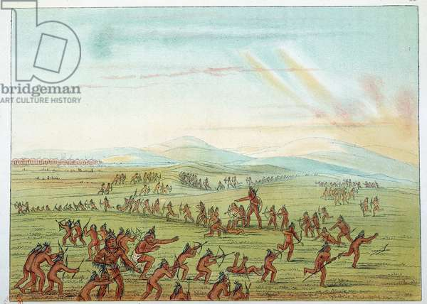 Indians of America: teaching hunting for Mandans children between 7 and 15 years old. Illustration by George Catlin (1794-1872), 19th century. Paris, B N