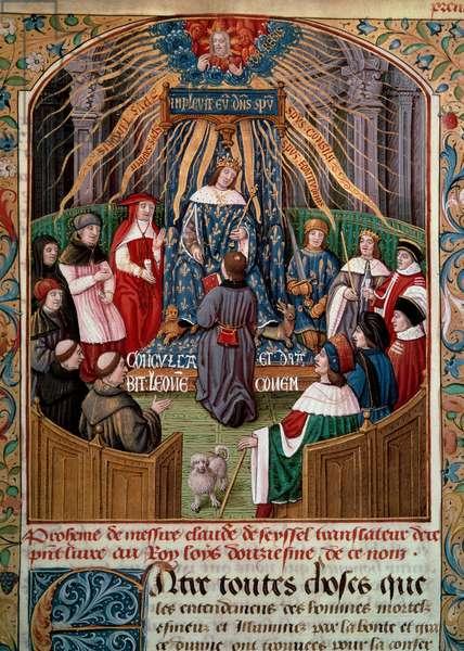 "Claude de Seyssel (died 1520) offers his book to King Louis XII (1462-1515) Miniature from Claude de Seyssel's ""La Grande Monarchy de France"", 16th century Paris, B.N."