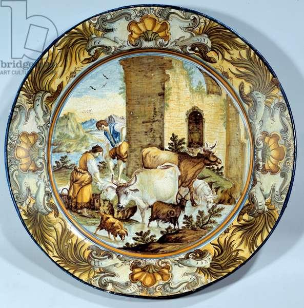 Faience dish representing a pastoral scene. 18th century Paris. Musee du Louvre