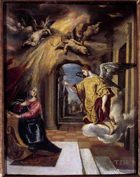 The Annunciation Painting by Domenikos Theotokopoulos Dit El Greco (1540-1614), 17th century. Oil on canvas. Dim: 0.49x0.37 m. Madrid, Musee Du Prado
