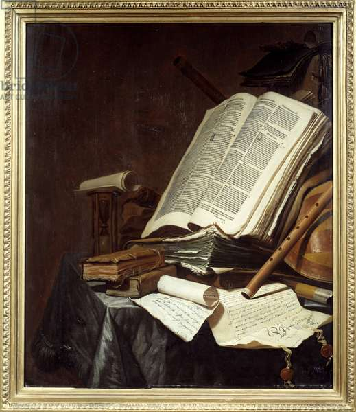 Books and Musical Instruments Painting by Jan Vermeulen (1638-1674) 17th century Sun. 0,78x0,69 m Nantes, musee des Beaux Arts
